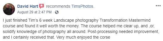 david hart very much enjoy the course tim shields photography transformation masterclass