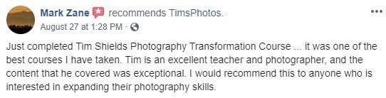 Mark zane it was one of the best courses tim shields photography transformation masterclass