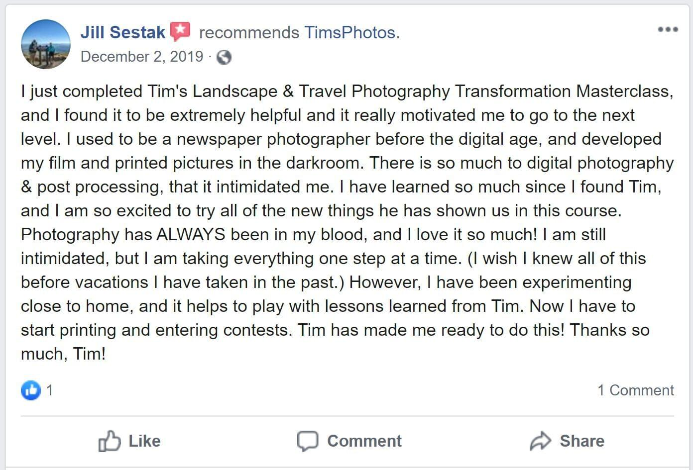 Jill sestak it;s extremely helpful tim shields photography transformation masterclass